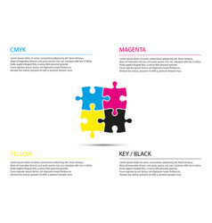 puzzle infographic business concept with cmyk vector image