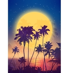 Retro style full moon rise with palm silhouettes vector image