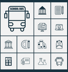 school icons set collection of education tools vector image