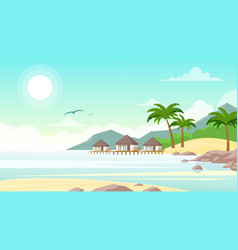 sea beach with hotel vector image