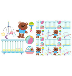 Seamless background with baby crib and toys vector