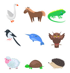 set of cartoon animal pet and wild nine icons vector image