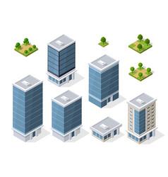 set of modern isometric buildings vector image