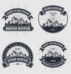 set of mountain adventure vintage labels badges vector image