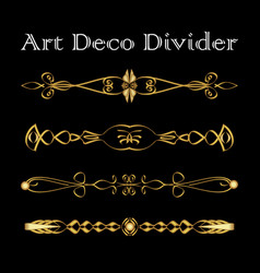 Set of vintage typographic divider in gold art vector