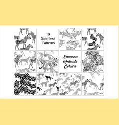 set seamless pattern with savanna animals colours vector image