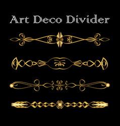 Set vintage typographic divider in gold art vector