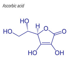 Skeletal formula ascorbic acid drug chemical vector