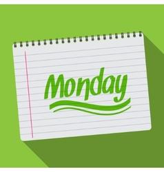 Spiral calendar monday notebook notepad long vector image