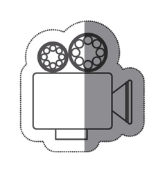 Sticker silhouette with retro movie projector vector