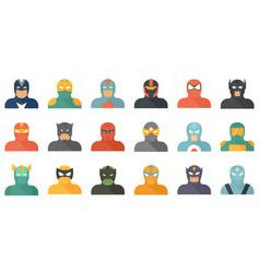 Superhero icons set flat isolated vector