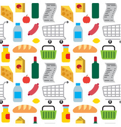 supermarket food seamless pattern vector image
