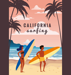 Surfers man and woman couple on beach coast vector
