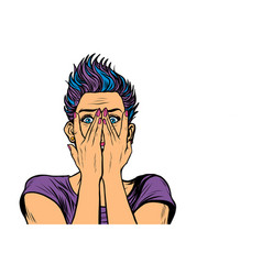 Surprised woman covered her face with hands vector