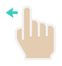 Swipe left flat icon touch and hand gestures vector