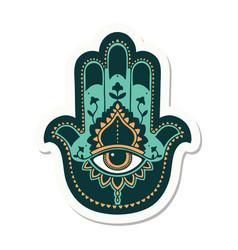 Tattoo style sticker a hamza vector