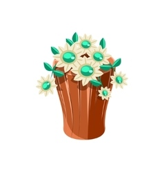 Vase With Flowers Isometric Garden Landscaping vector