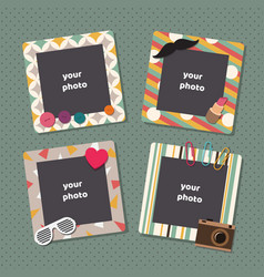 Vintage scrapbook picture frames retro kids vector