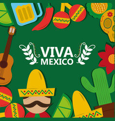 viva mexico tradition culture festival poster vector image