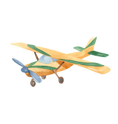 watercolor cartoon corn duster airplane clipart vector image