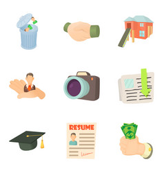 work after university icons set cartoon style vector image