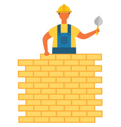 Worker on building construction bricks and wall vector
