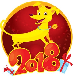 yellow dog symbol of the new year 2018 vector image