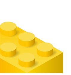 Yellow plastic construction brick vector