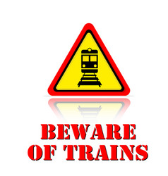 yellow warning beware of trains icon background ve vector image