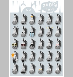 Zebra emoji icons vector