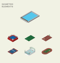 Isometric competition set of run stadium basin vector
