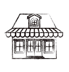 Monochrome blurred silhouette of store with awning vector