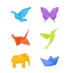 Origami set multicolored vector image