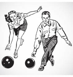 retro bowling vector image vector image