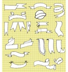 Set of Hand Drawn Ribbons vector image