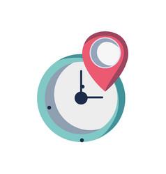 wall clock design with location symbol vector image vector image