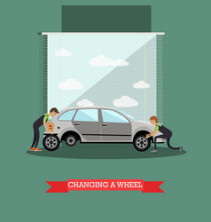 Wheel change car repair service vector