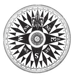 British Navy Compass vintage engraving vector image vector image