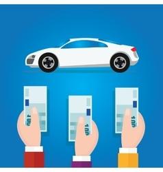 car bidding auction hand offer money cash concept vector image vector image