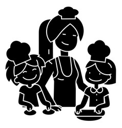 cooking woman with kids - bakery family icon vector image
