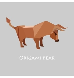 flat design with origami bull vector image vector image