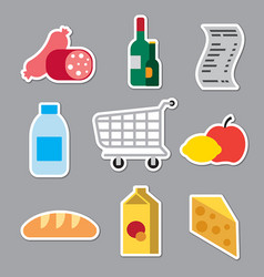 grocery supermarket stickers vector image