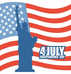 July 4th Independence Day of America Statue of vector image