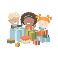 Kids Opening Christmas Gifts vector image vector image