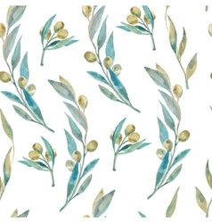 Watercolor green olive pattern Olive branches vector image