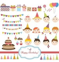 Birthday party set with children vector image vector image