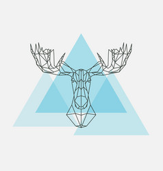 elk head geometric lines silhouette vector image