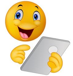 Emoticon smiley using tablet vector image