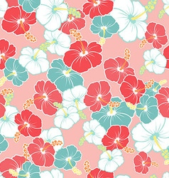 Hawaiian Seamless Pattern with hibiscus flowers vector image
