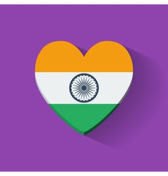 Heart-shaped icon with flag of India vector image